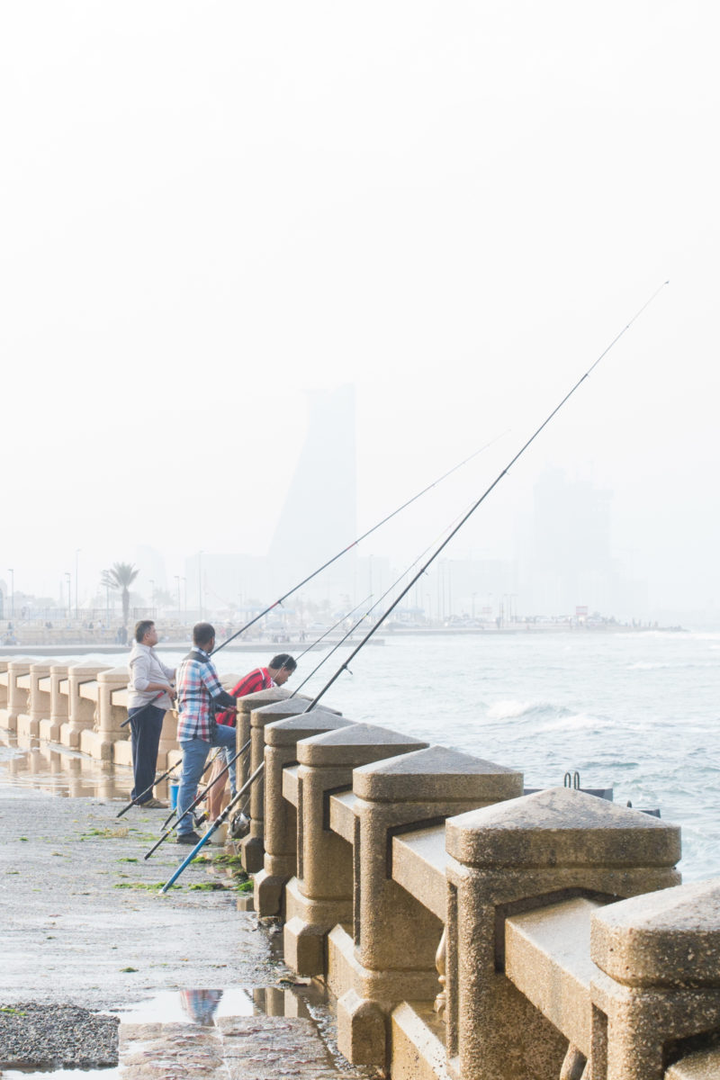 Fishers at Jeddah Corniche by Noel Cabacungan