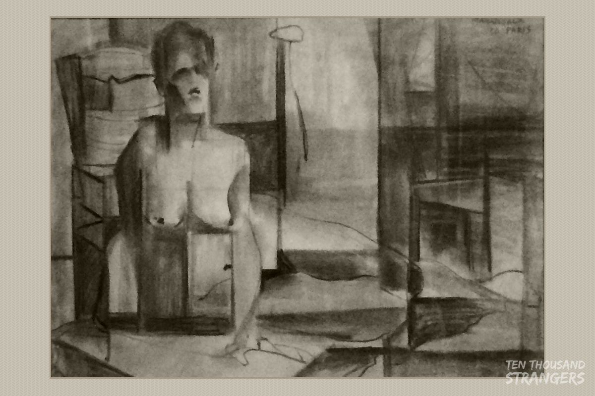 """""""Abstract Nude"""" (Paris 1950) Vicente Manansala Charcoal on Paper"""