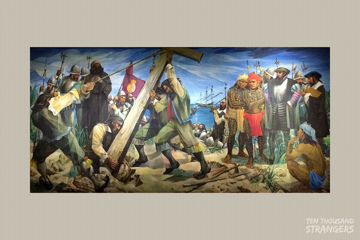"""""""Planting of the First Cross"""" (1965) Vicente Manansala"""