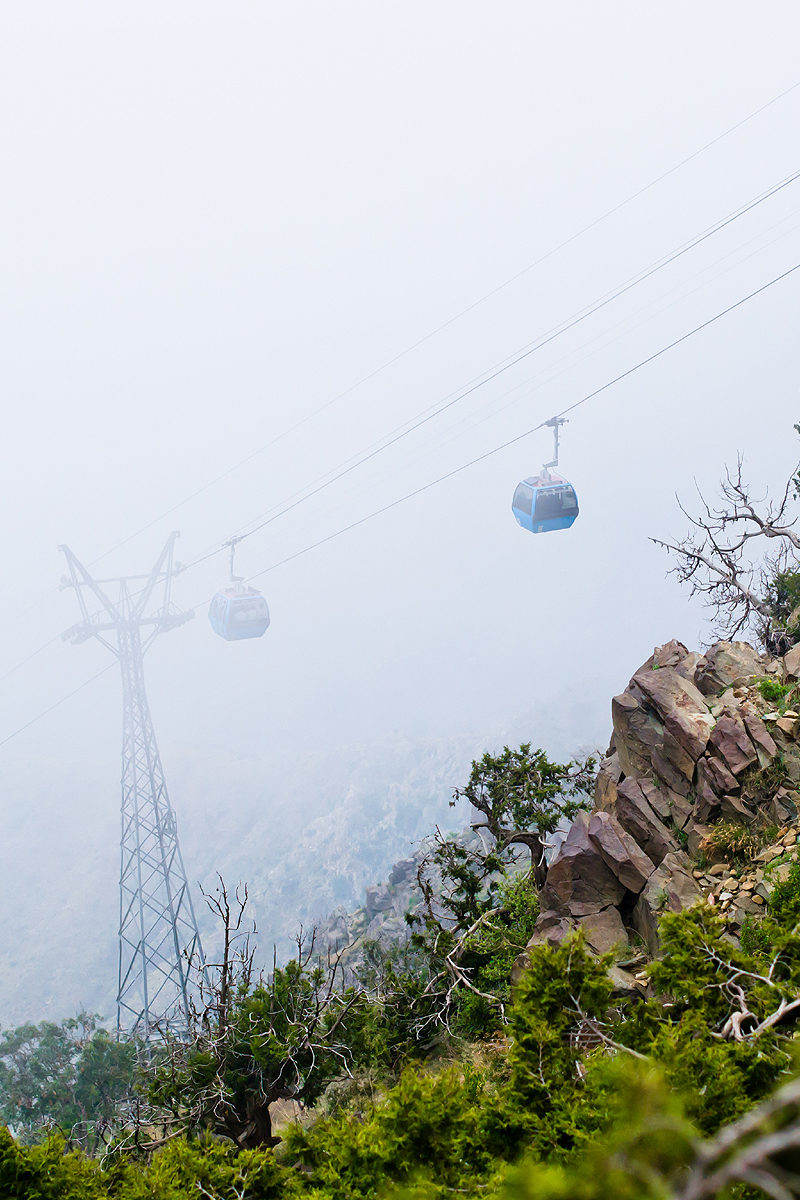Cable emerging from the fog at Jabal Sawda, Abha, Saudi Arabia