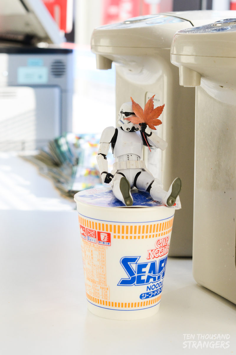 Stormtrooper and Nissin Seafood cup noodles