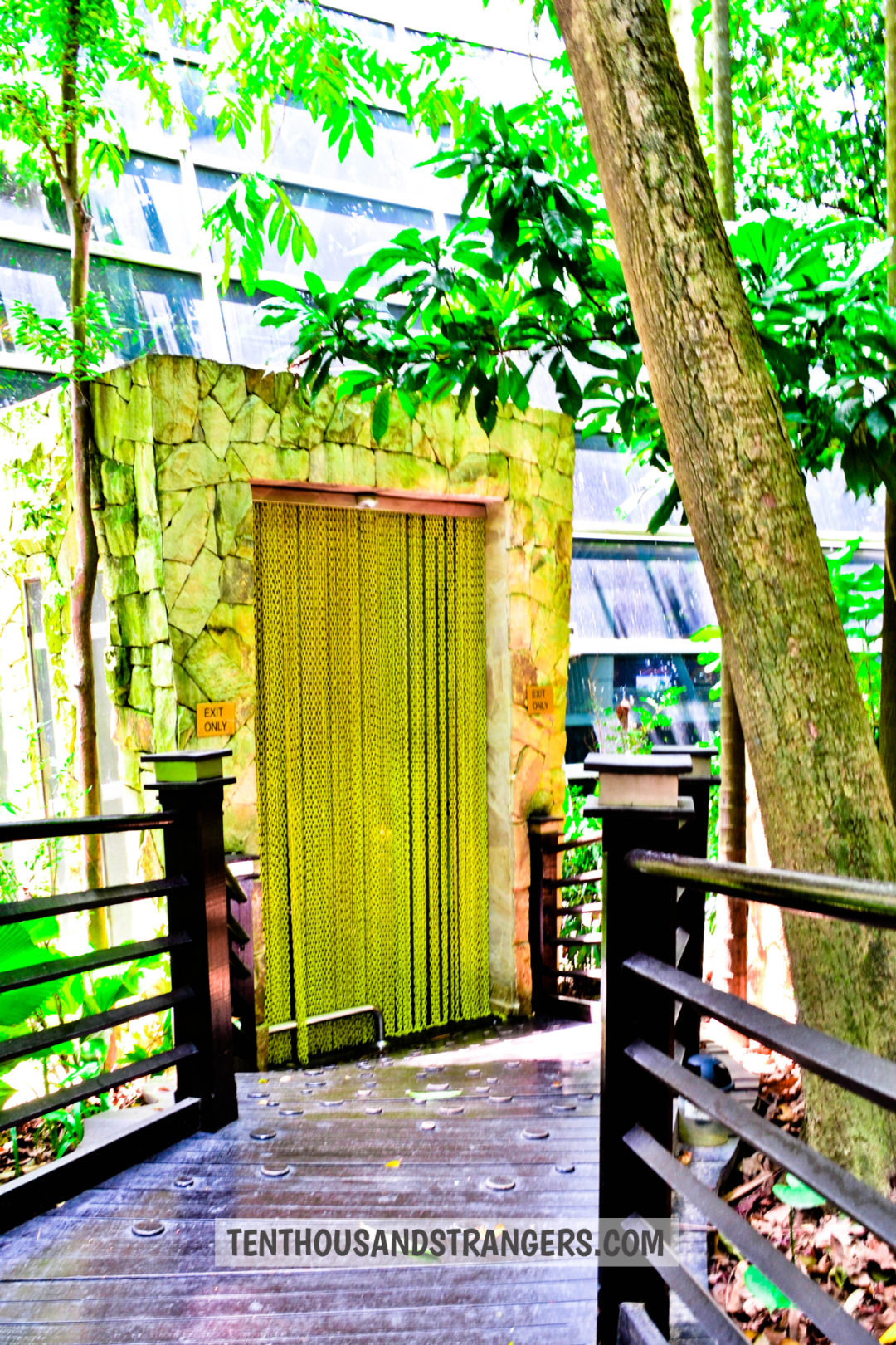 Yellow chain curtains at KLIA Jungle Boardwalk entrance/exit