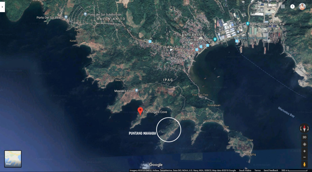 Satellite image of Mariveles Five Fingers Cove